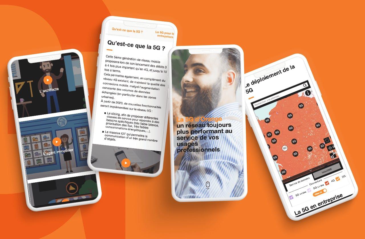 Plusieurs smartphones diffusent le site d'Orange Business Service qui présentent les offres de 5G d'Orange