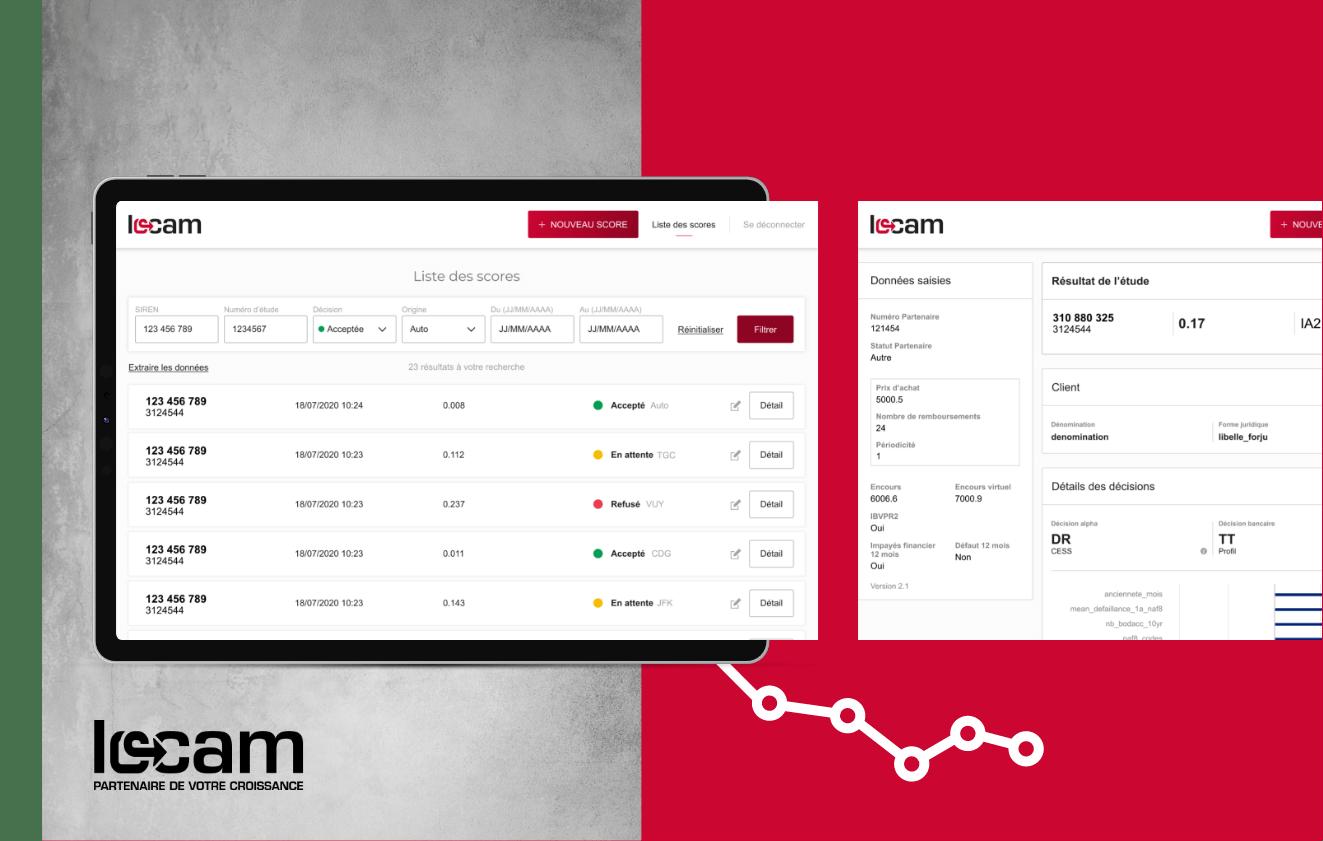 Extrait de l'outil de calcul de score pour aider au financement de LOCAM, présenté sur une tablette.