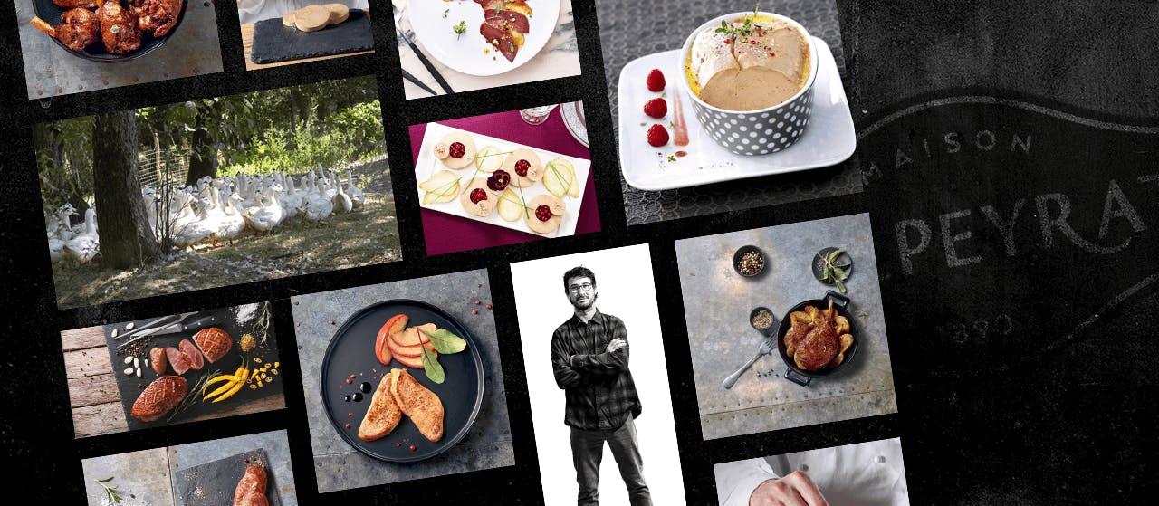 Extraits du site internet de la marque Delpeyrat : photos de plats raffinés mettant en scène le canard dans toute sa diversité.