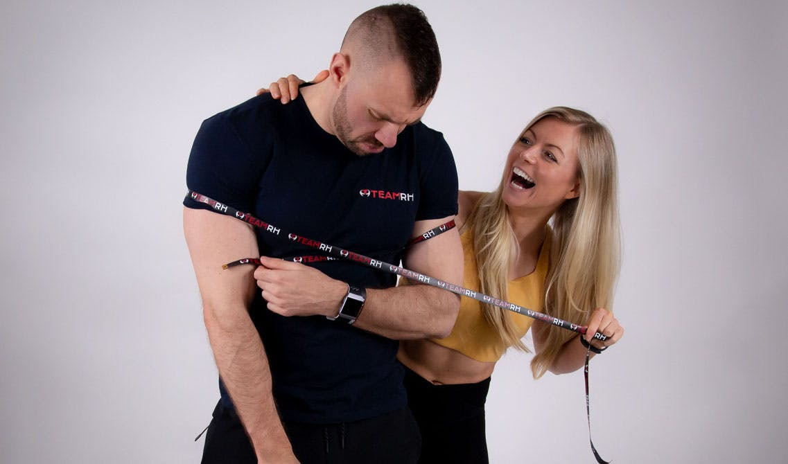 Richie and Rachael with Team RH tape measure.