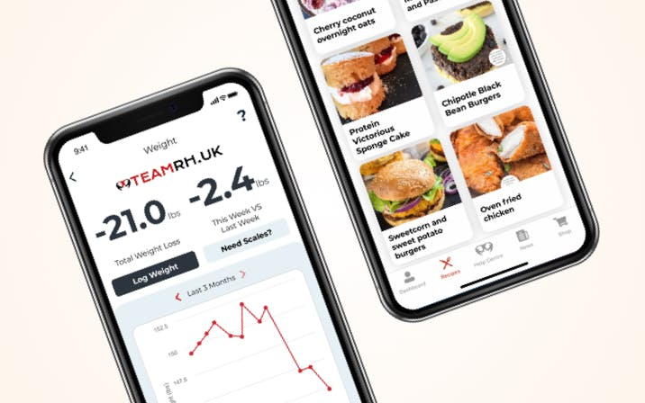 Weight and recipe app screens