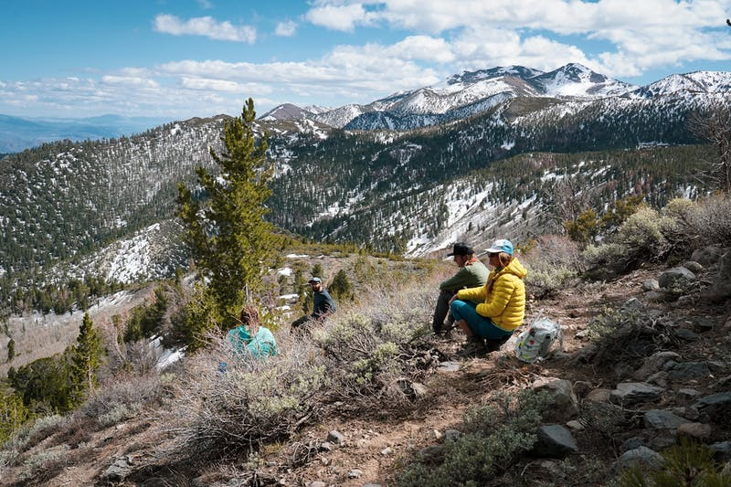 Friends hiking Reno's Thomas Creek Trail in Galena Regional Park