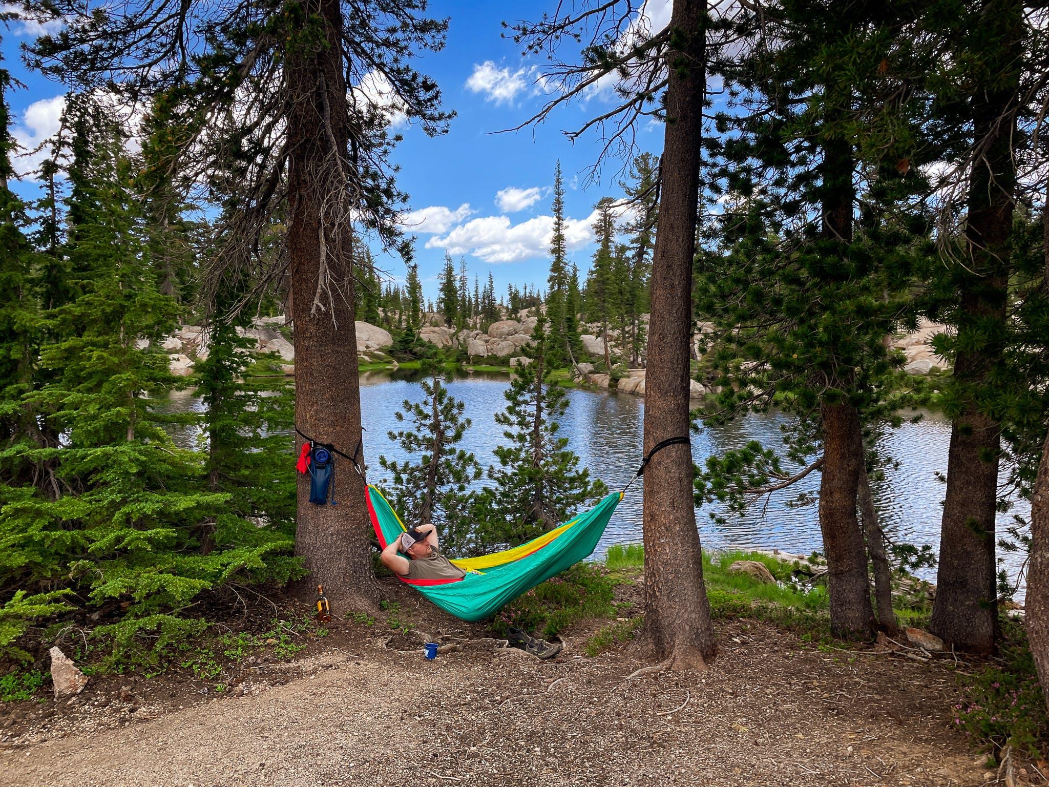 hammock at Chewing Gum Lake Emigrant Wilderness