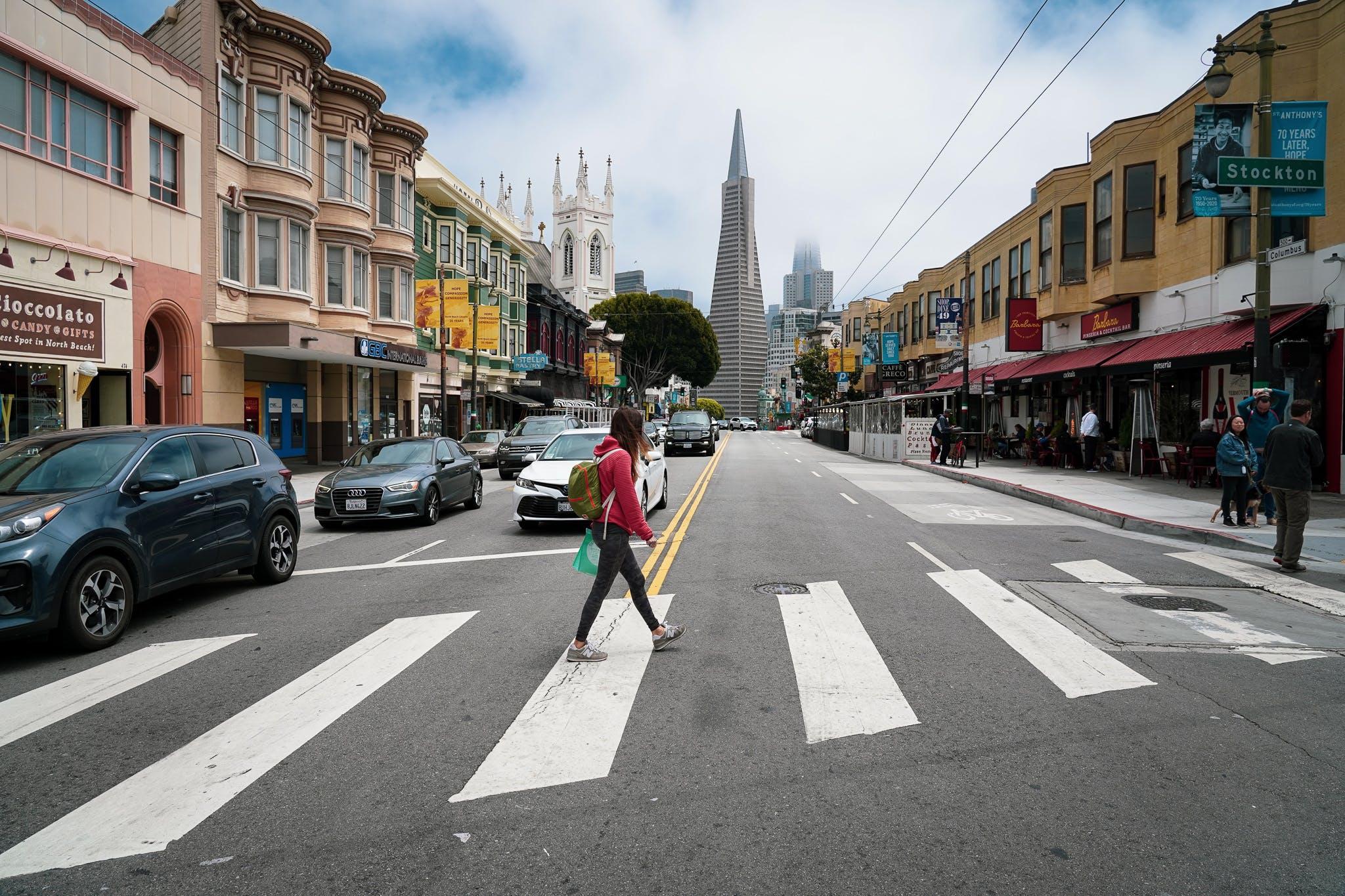 woman walking across street on Barbary Coast Trail in San Francisco