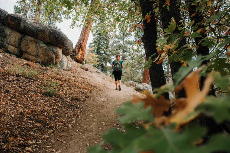 Hiker on Grays Peak trail at Big Bear Lakes in Southern California