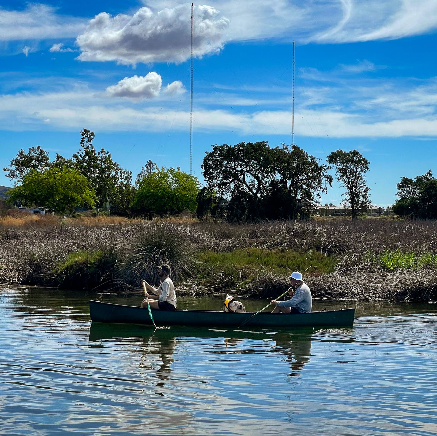 Two people and a dog in a canoe paddling along the Napa River