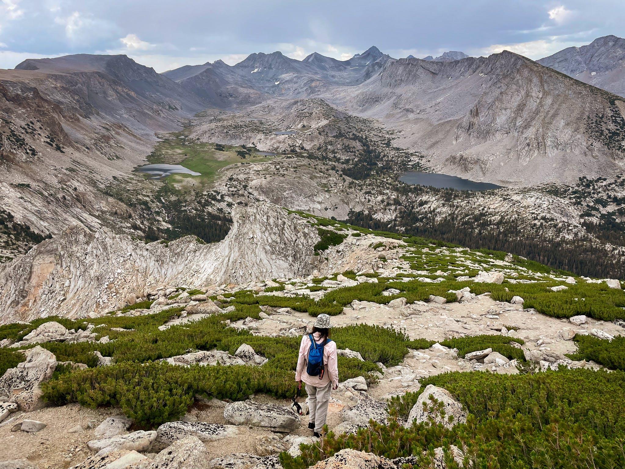 hiker on Vogelsang Peak in Yosemite