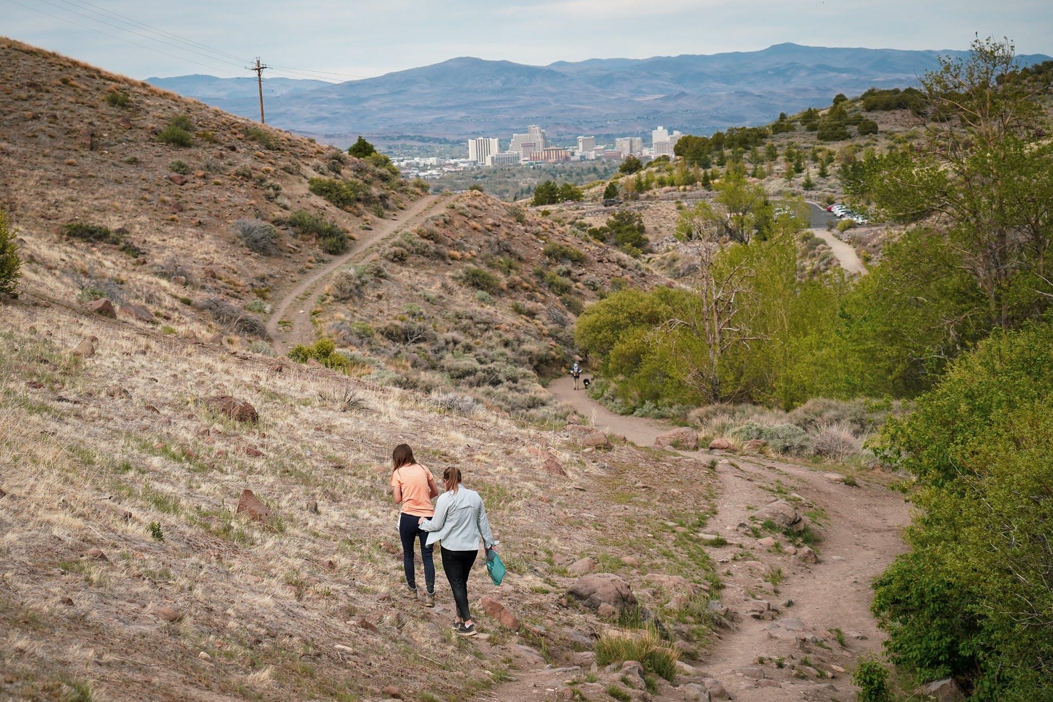 Two hikers at Hunters Creek in Reno