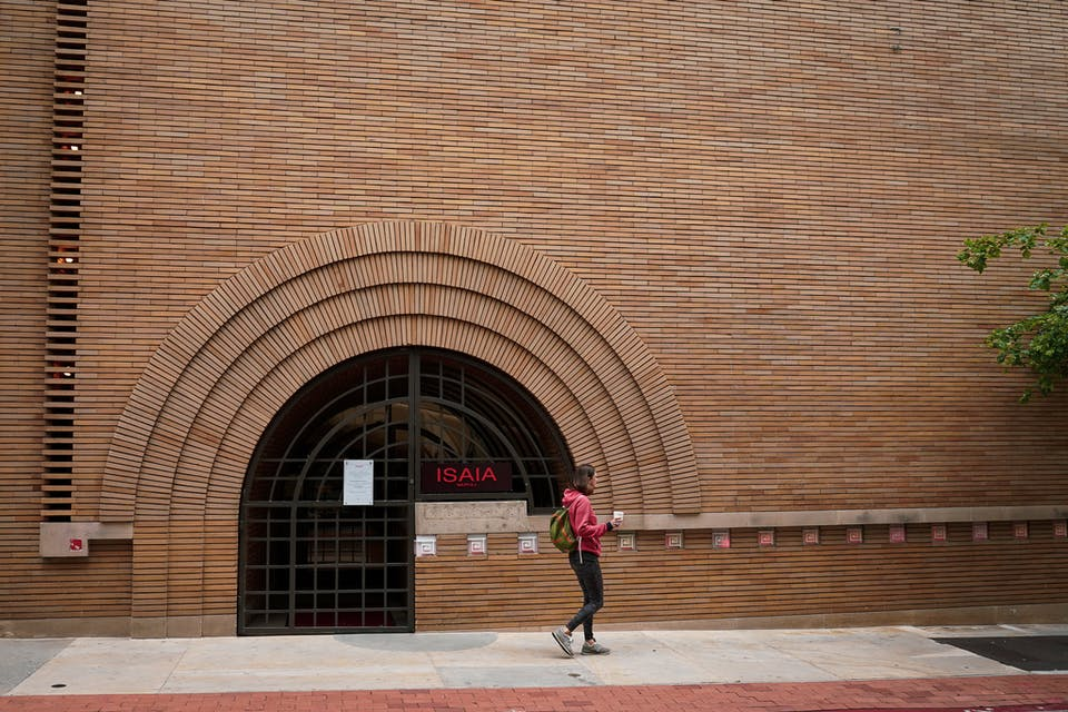 woman in front of Frank Lloyd Wright building on Barbary Coast San Francisco