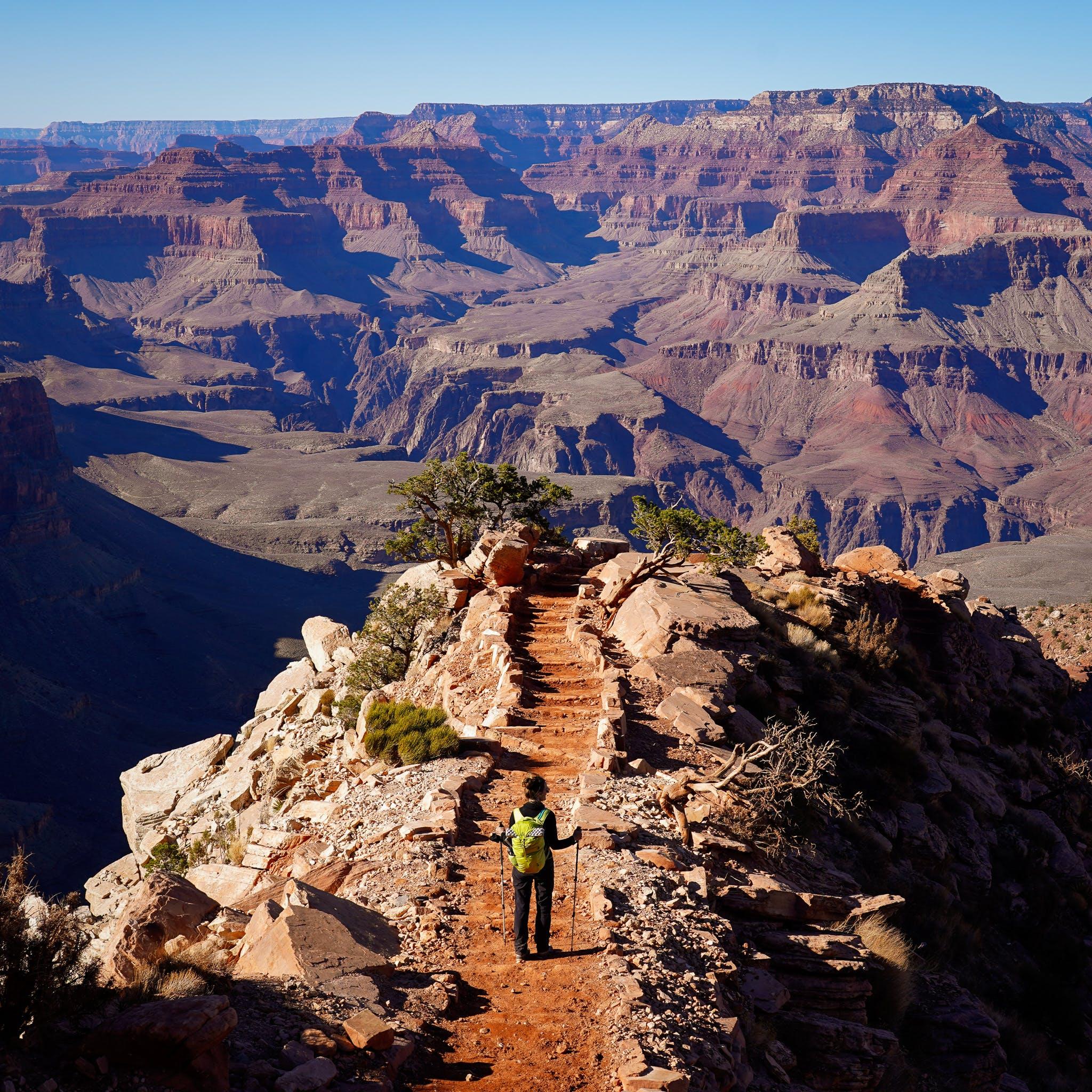 woman hiking South Kaibab Trail Grand Canyon