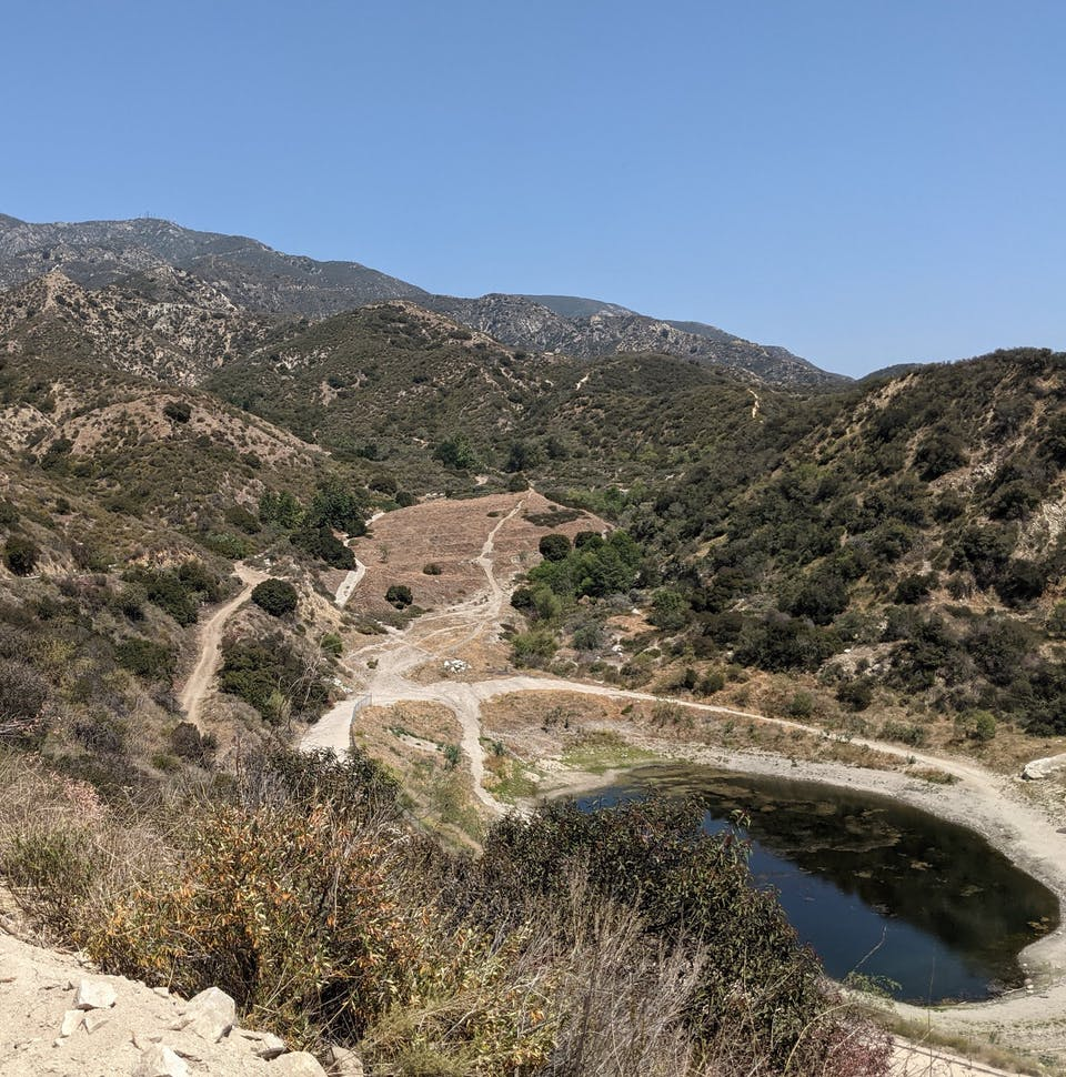 High point vista of Haines Canyon Debris Basin in the San Gabriels Southern California