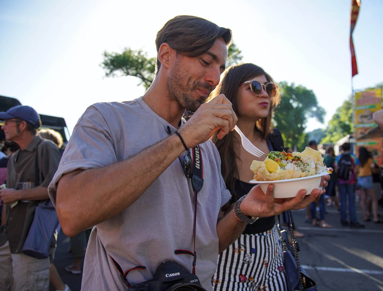Man and woman enjoying food trucks in Reno