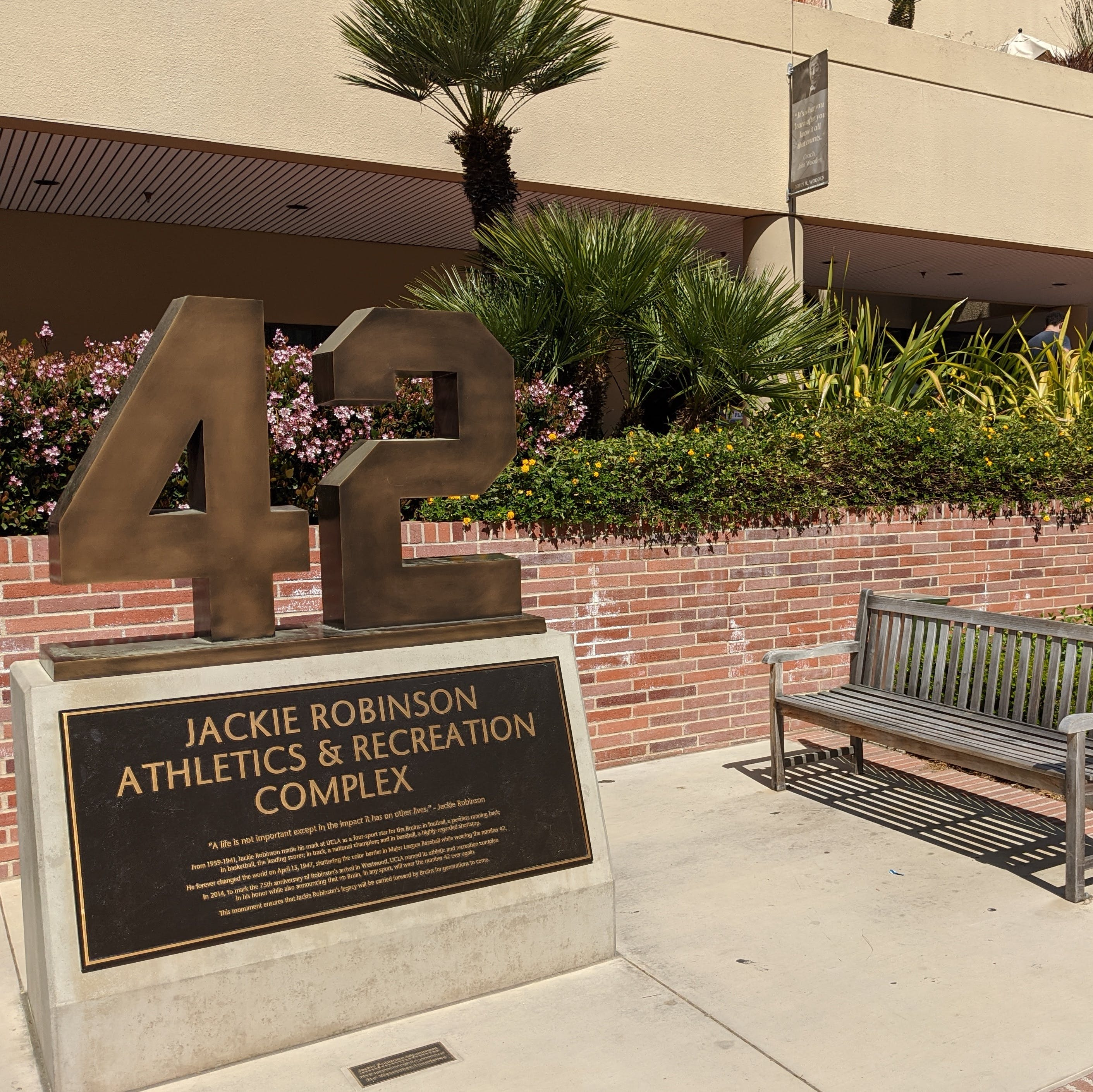 Jackie Robinson number 42 sculpture and commemorative placard at UCLA campus