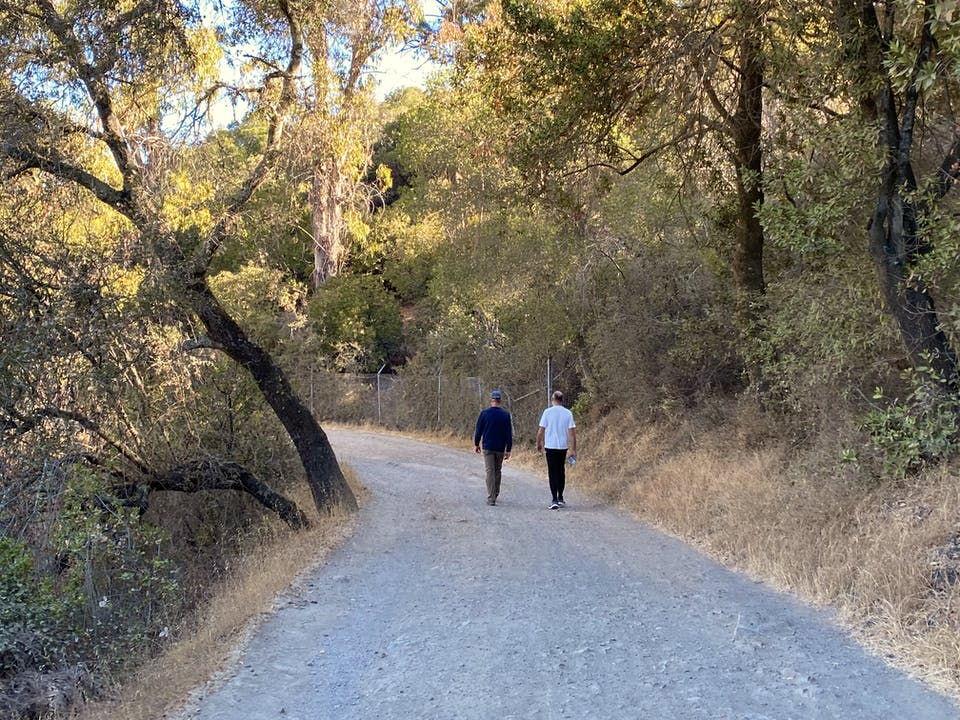 Hikers on a wide and flat trail at St. Joseph's Hill in Los Gatos