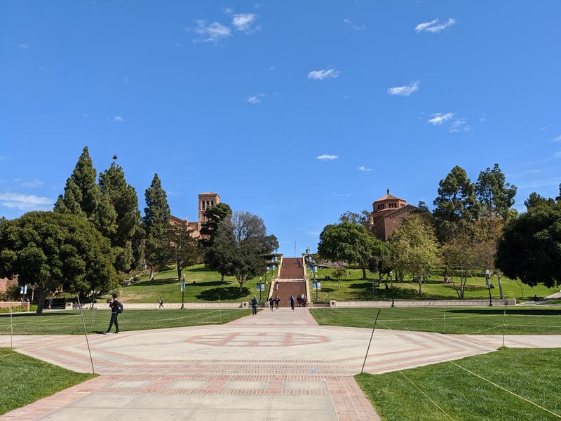 Person walking at campus grounds of UCLA in Los Angeles County