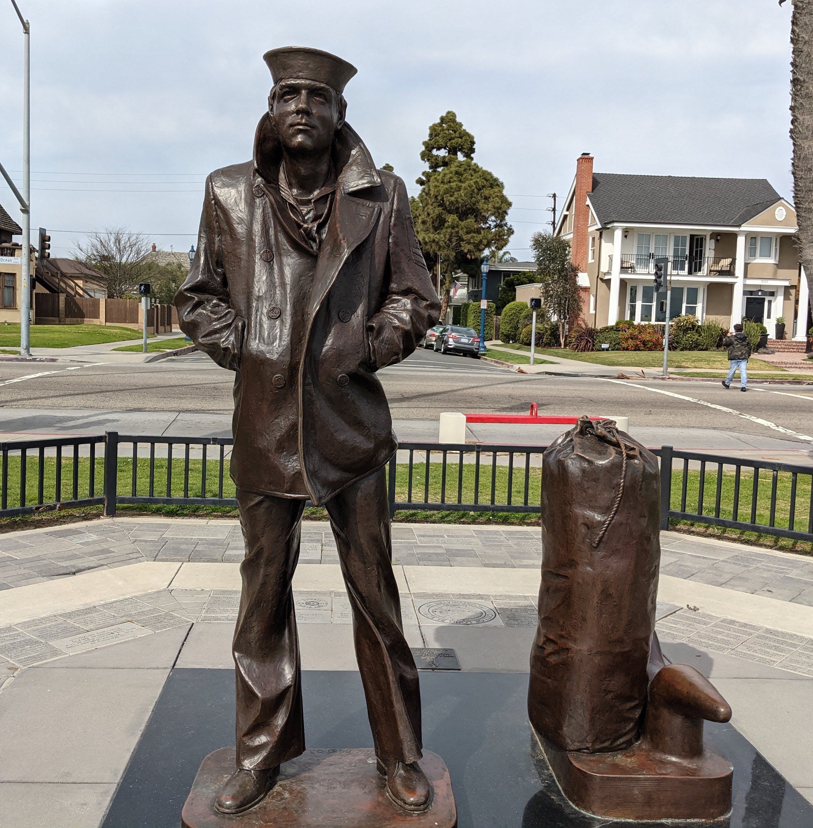 The Lone Sailor sculpture in Long Beach