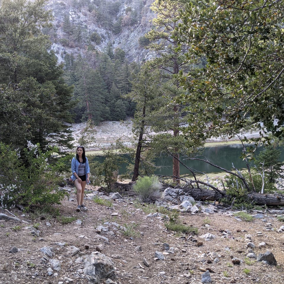 Woman at Crystal Lake in Crystal Lake Recreation Area in Los Angeles National Forest Southern California