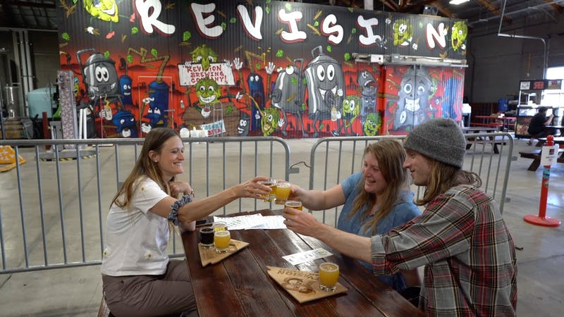 friends having beer at Revision Brewing in Sparks Nevada
