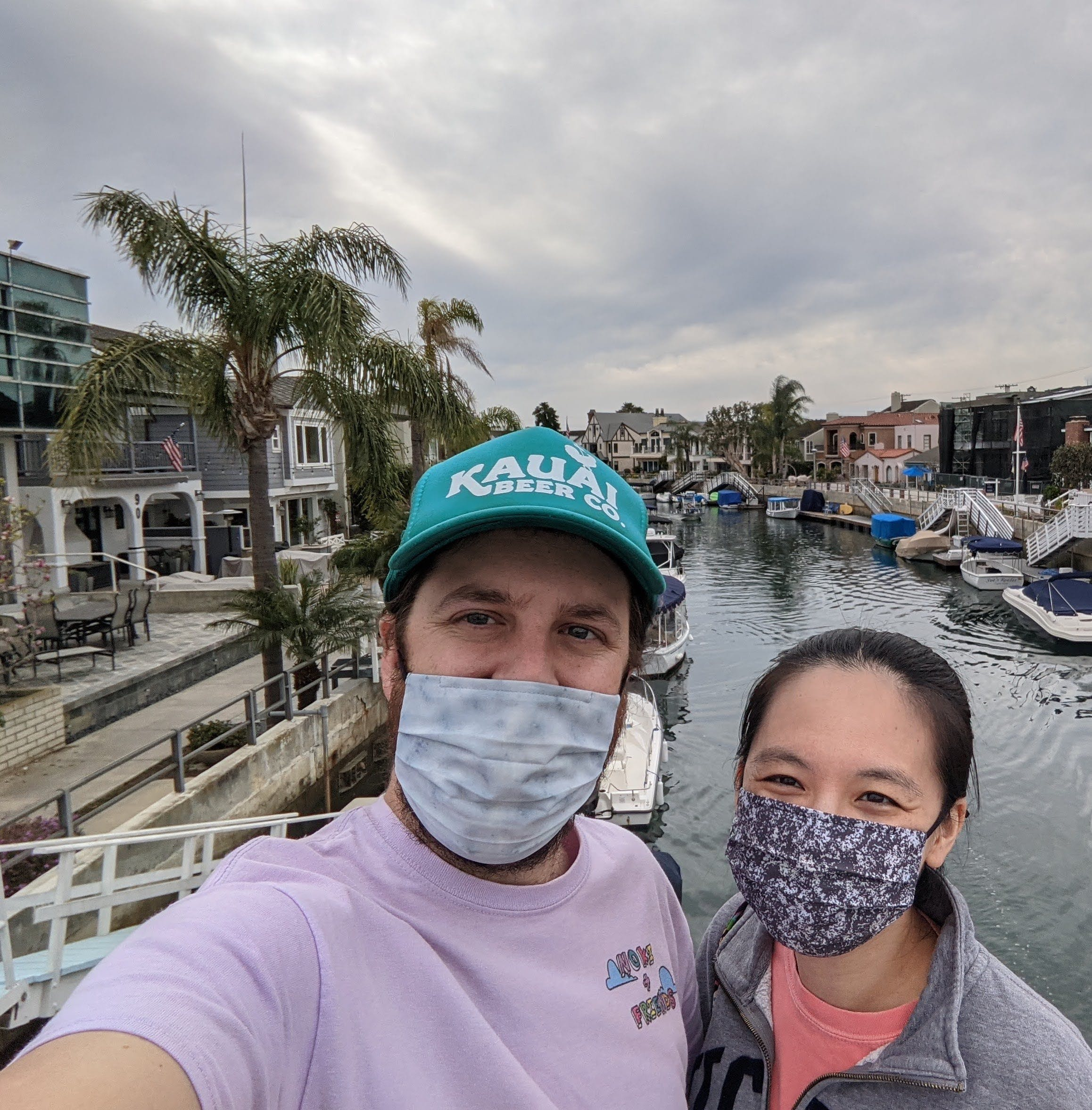 Couple taking a selfie at canals of Naples in Long Beach Los Angeles County