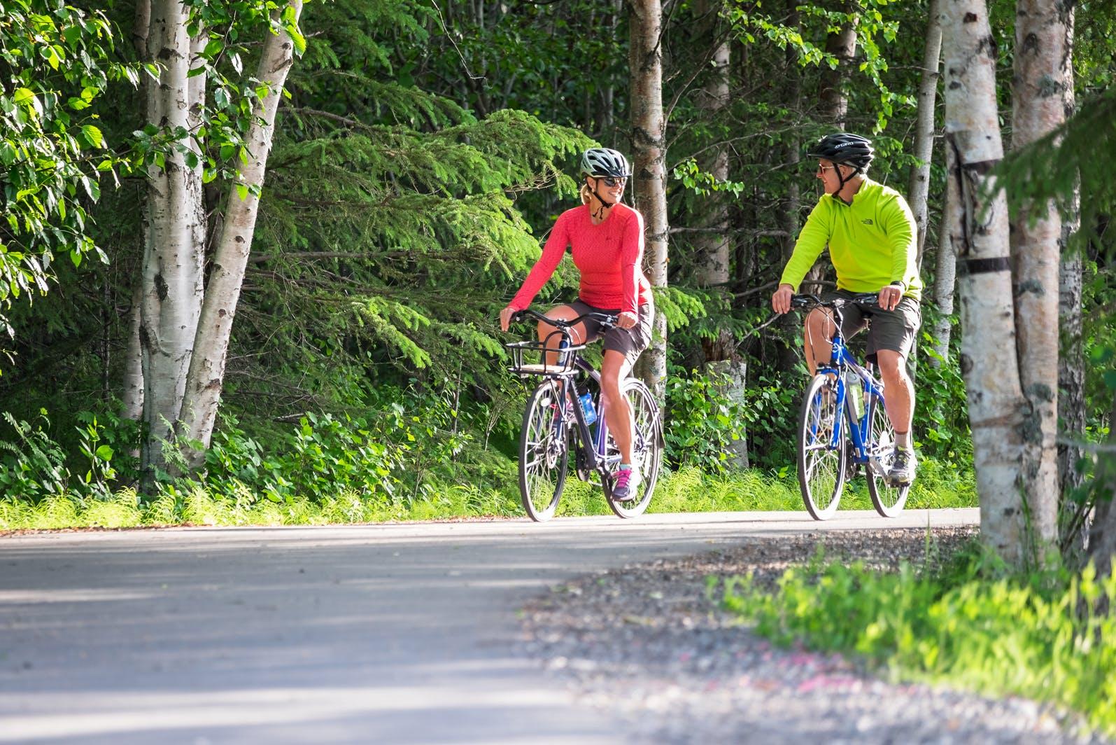 bikers on Coastal Trail Anchorage