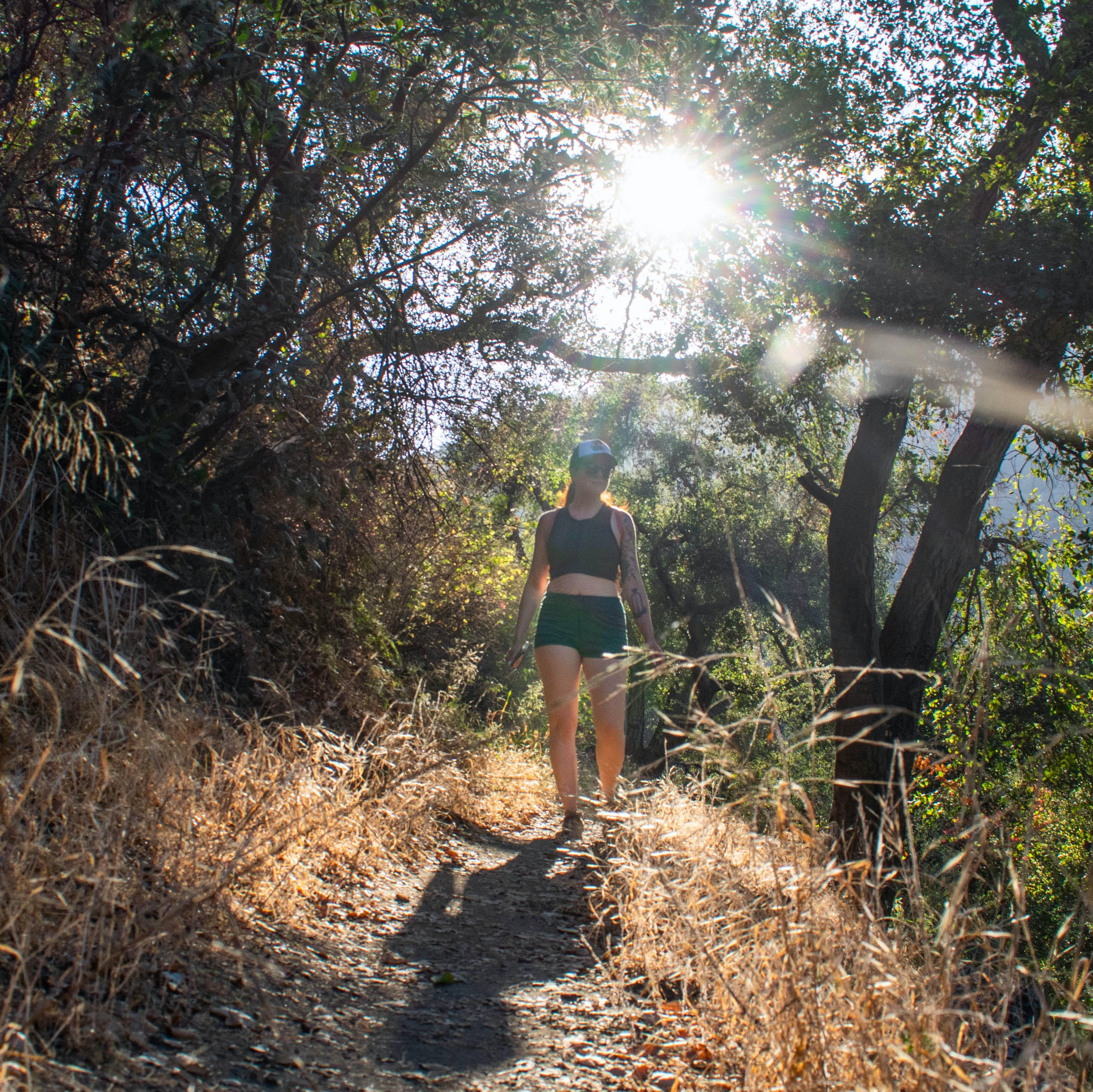 Woman hiking a forested section and sun beaming through on the Keiser Trail at Big Dalton Canyon Wilderness Park in Los Angeles County