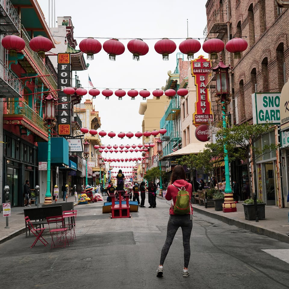 woman in China Town San Francisco on Barbary Coast Trail