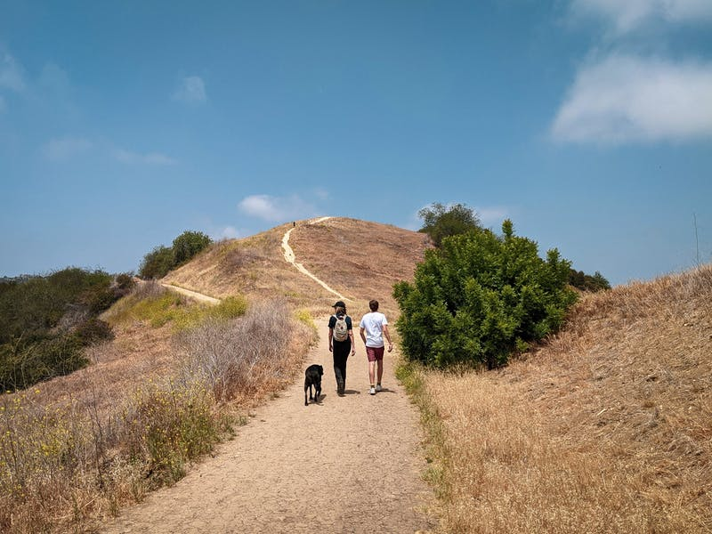 Two hikers and a dog at Upper and Lower Canyonback Trails in Los Angeles County