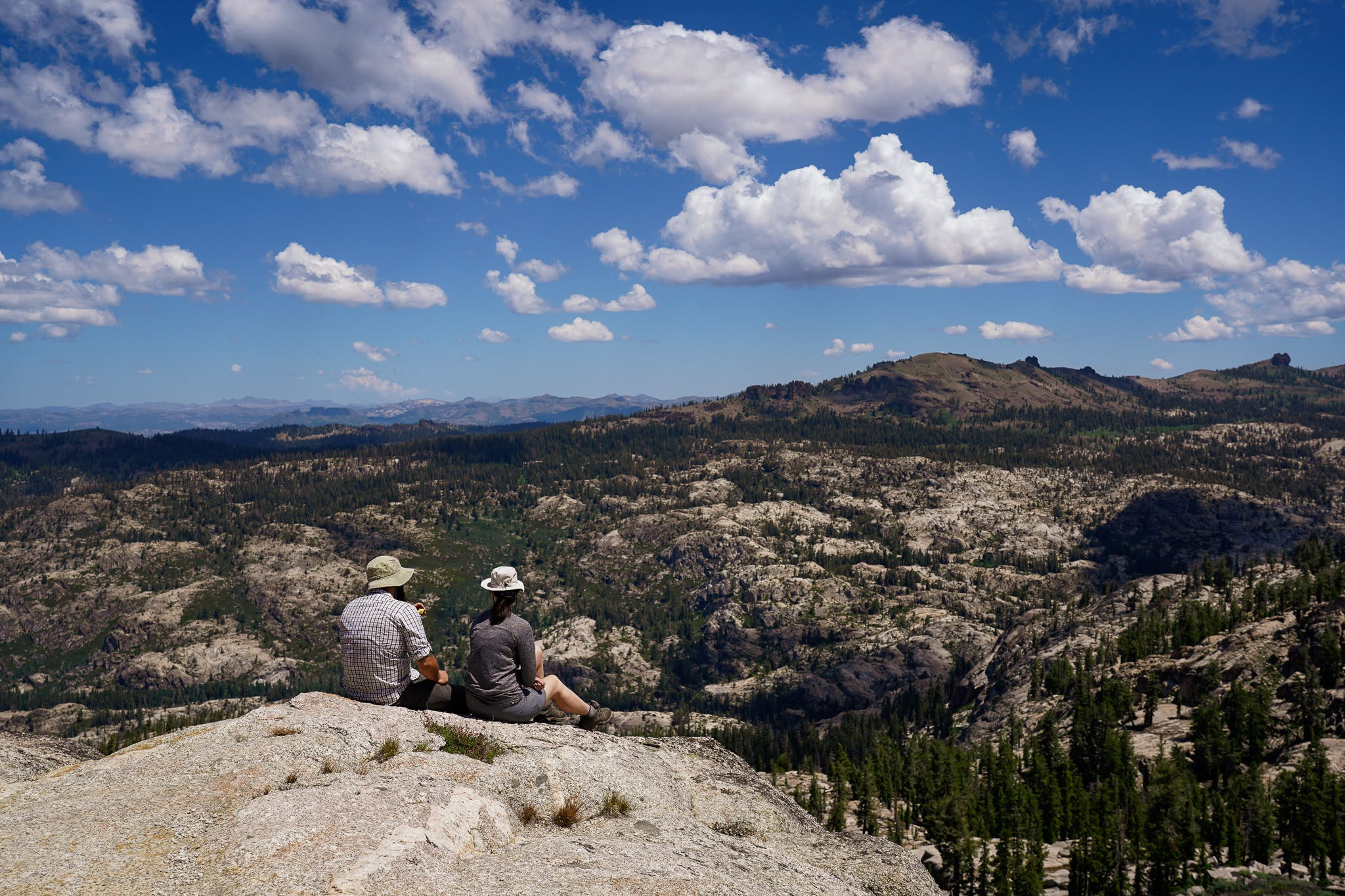Hikers at Burst Rock in the Emigrant Wilderness