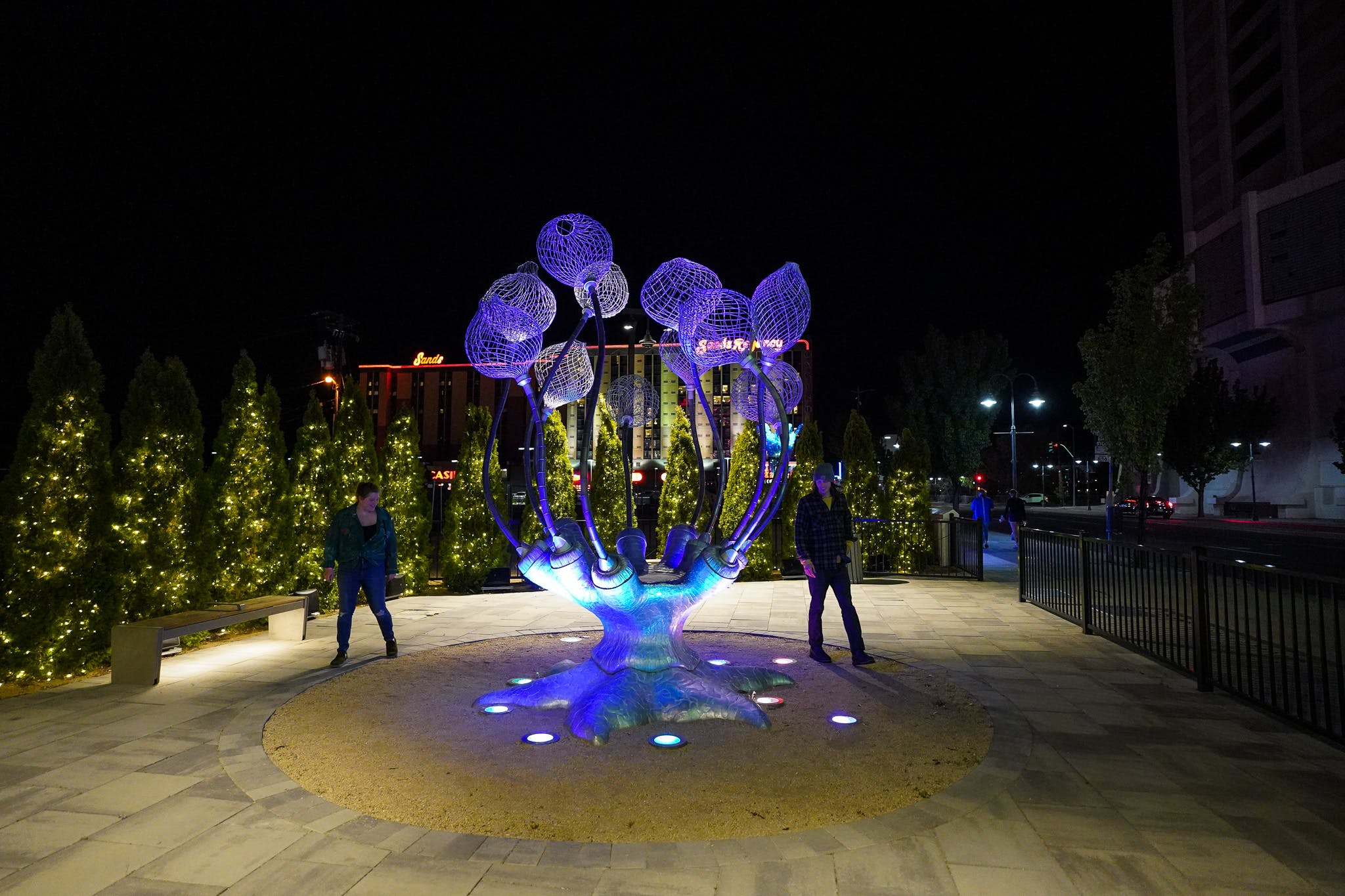 couple looking at Neon Line art Reno