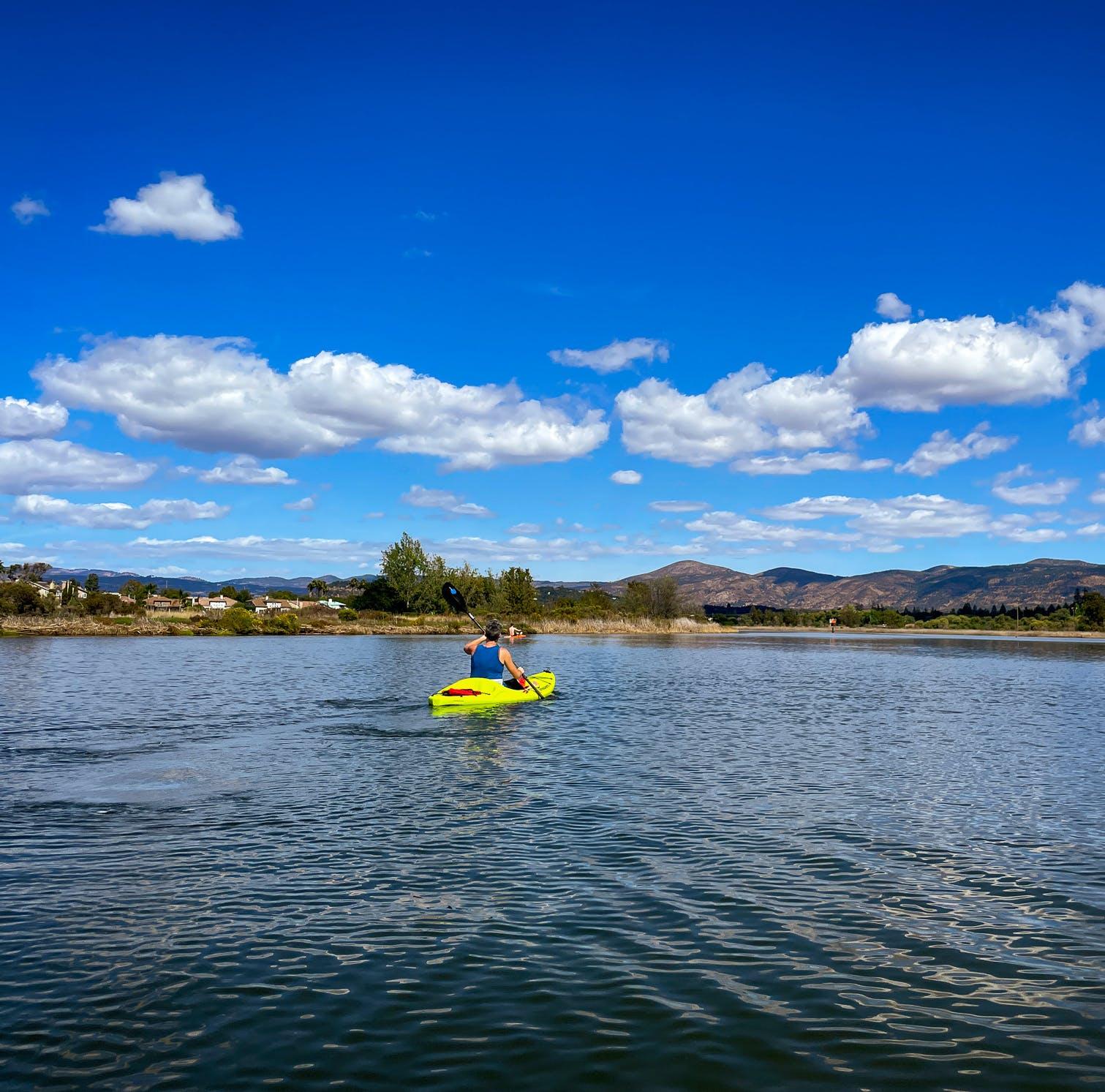 Kayaker paddling the Napa River with Napa Valley Paddle