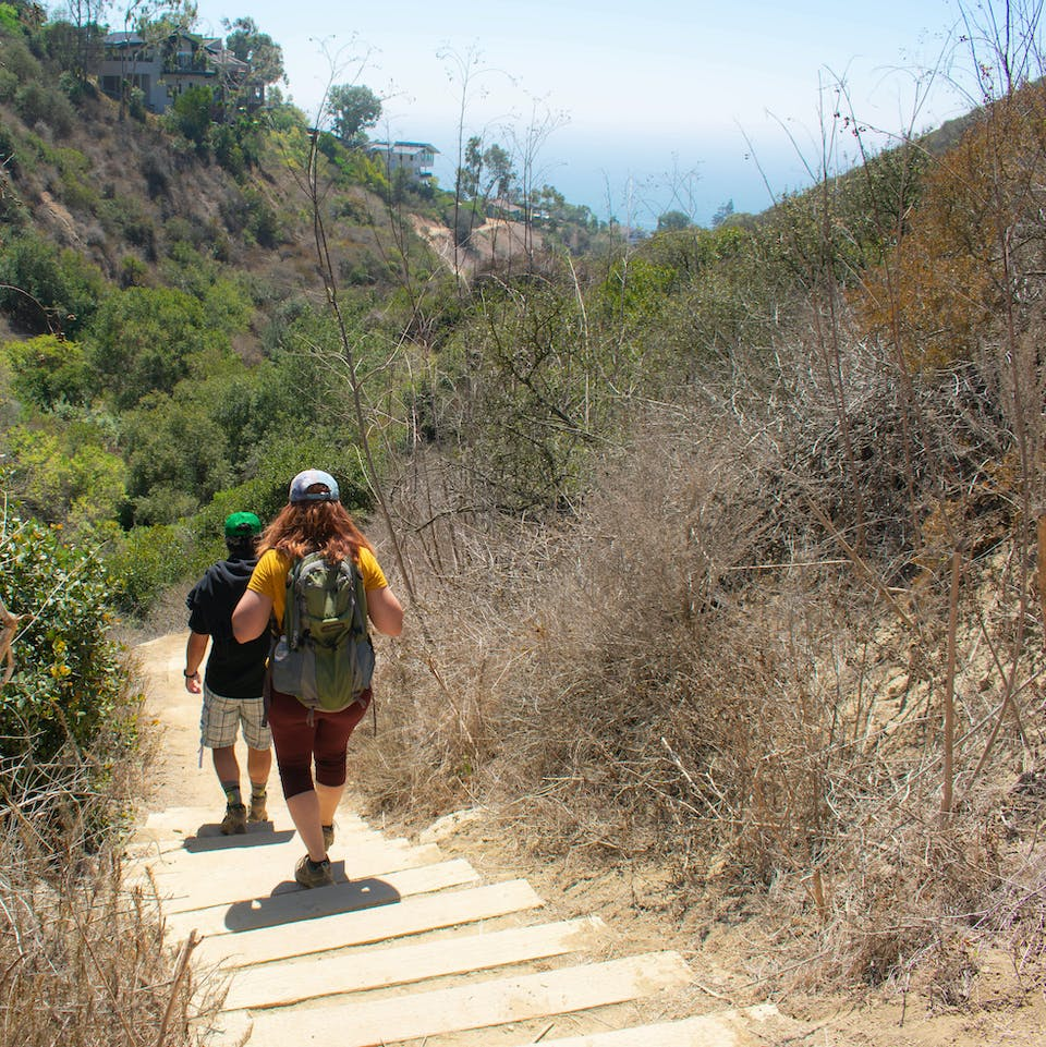 Hikers going down stairs on a trail towards Coast Royale Beach in Orange County