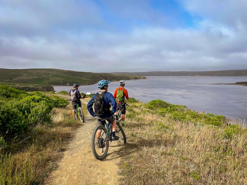 Mountain bikers on Estero Trail to Drakes Head Point Reyes
