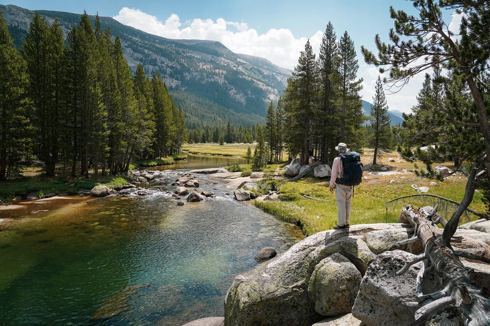 Hiker looking at Lyell Fork of Tuolumne River in Yosemite