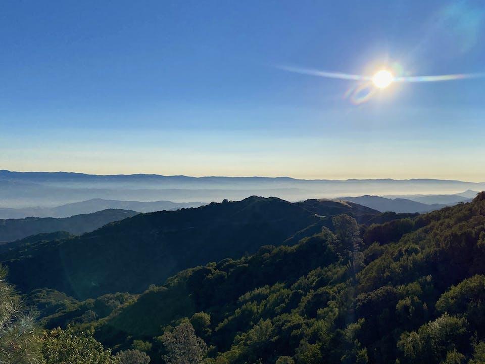 Sunrise view of the Santa Cruz mountains from Mount Umunhum