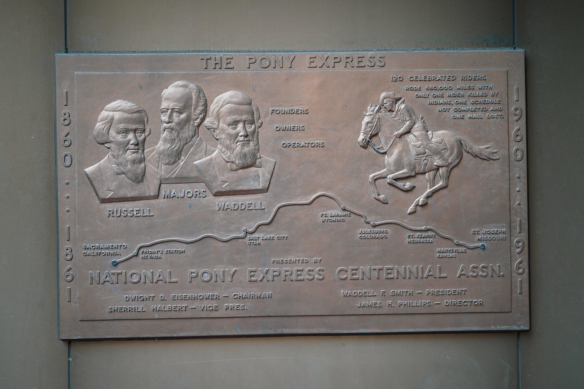 Pony Express Plaque on Barbary Coast Trail San Francisco
