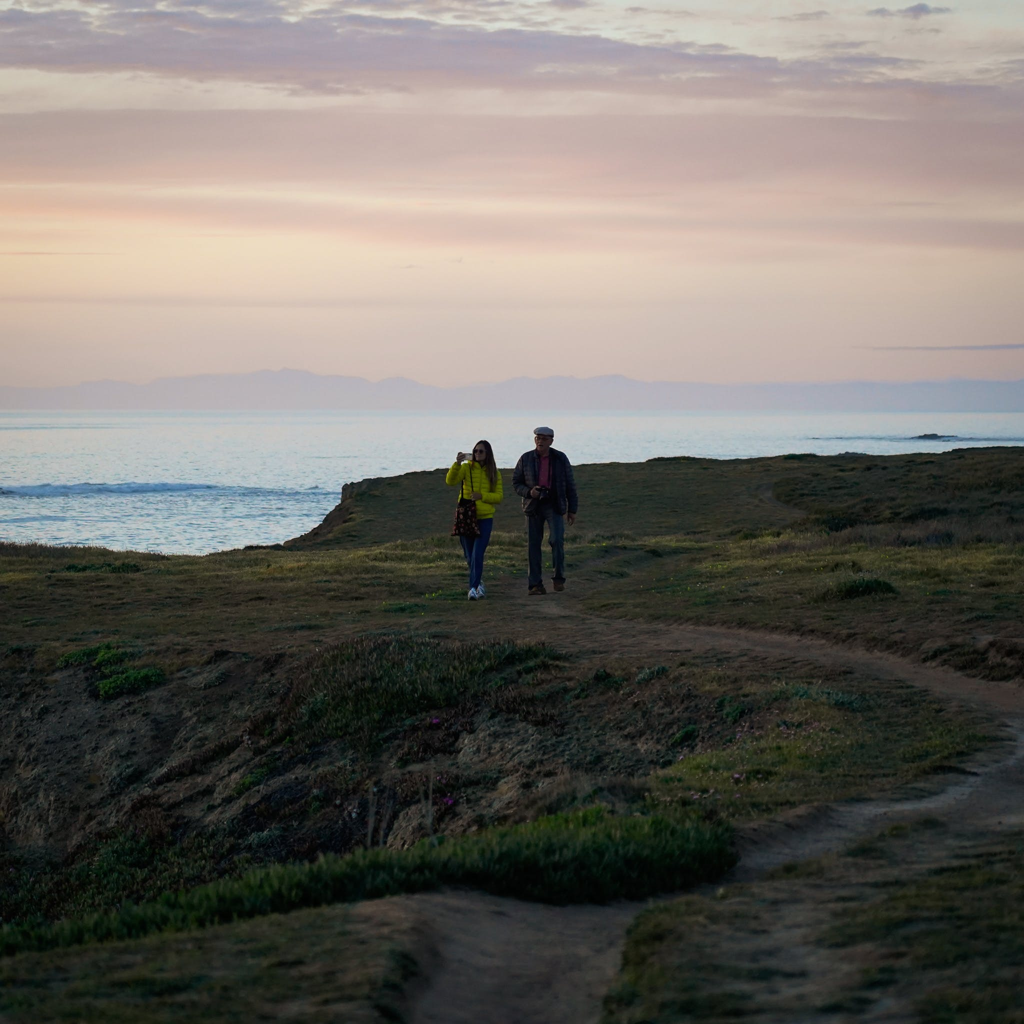 hikers at Point Cabrillo Light Station Mendocino coast