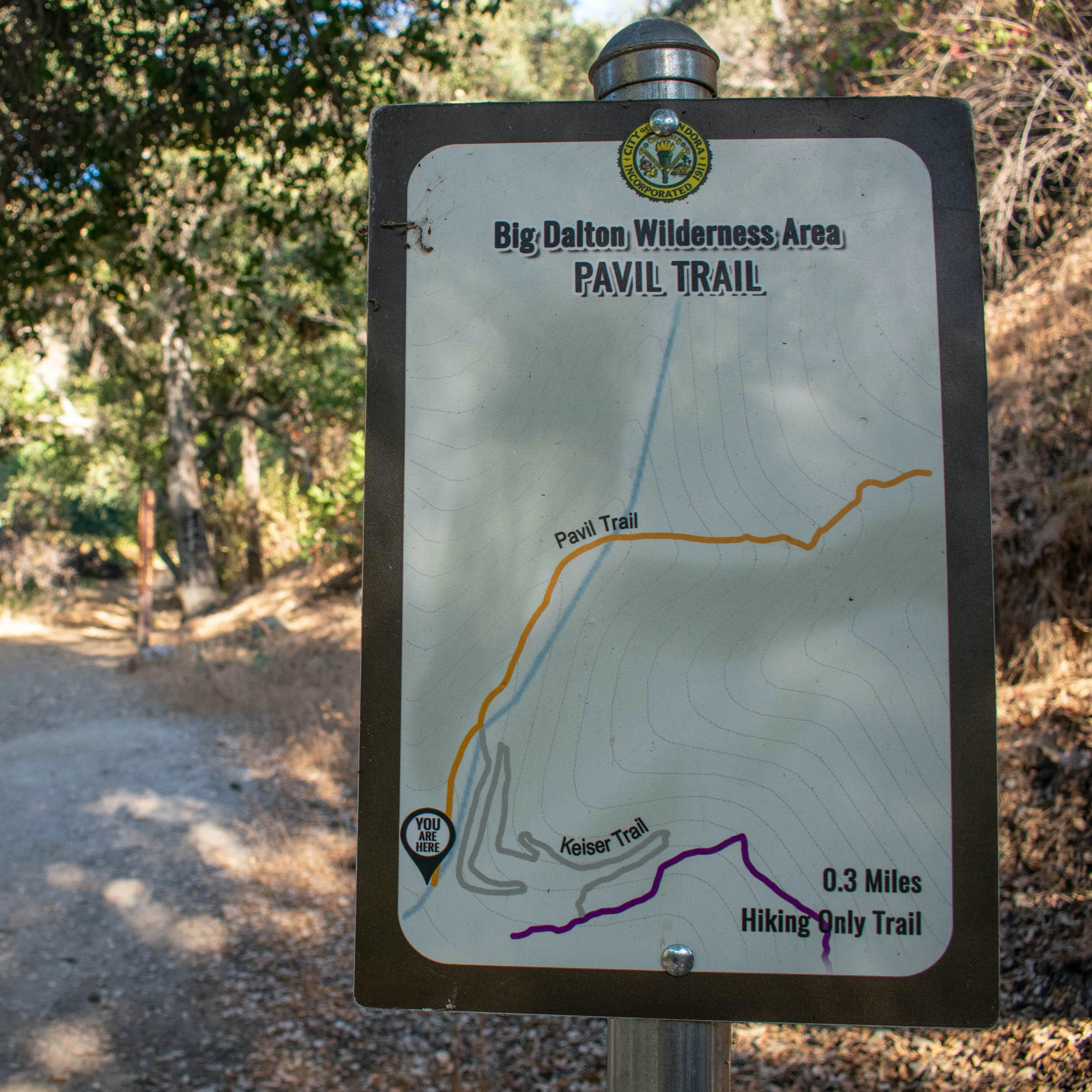 Official trail sign for Big Dalton Canyon Wilderness in Los Angeles County