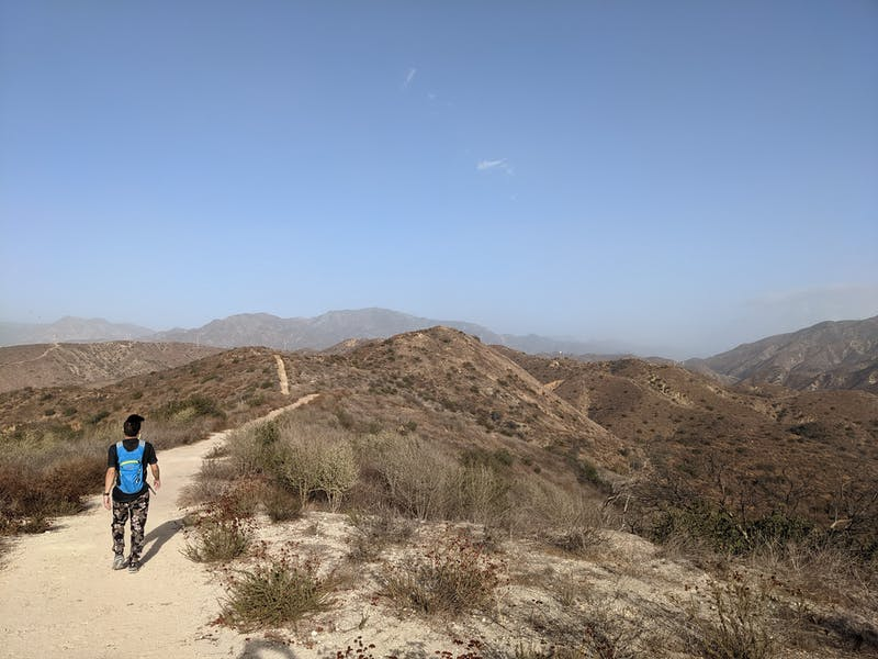 Hiker on the trail at Shadow Hills in Burbank
