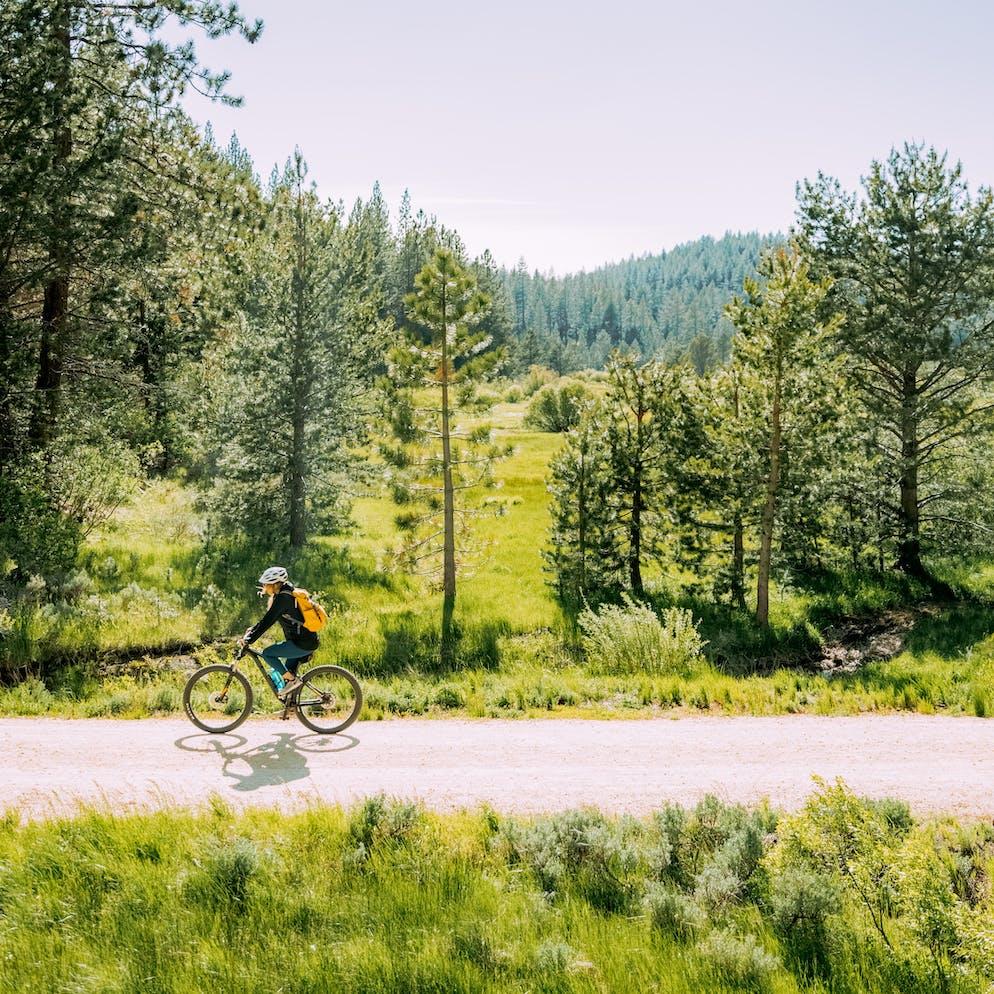 Bike riding at Spooner Lake near Tahoe