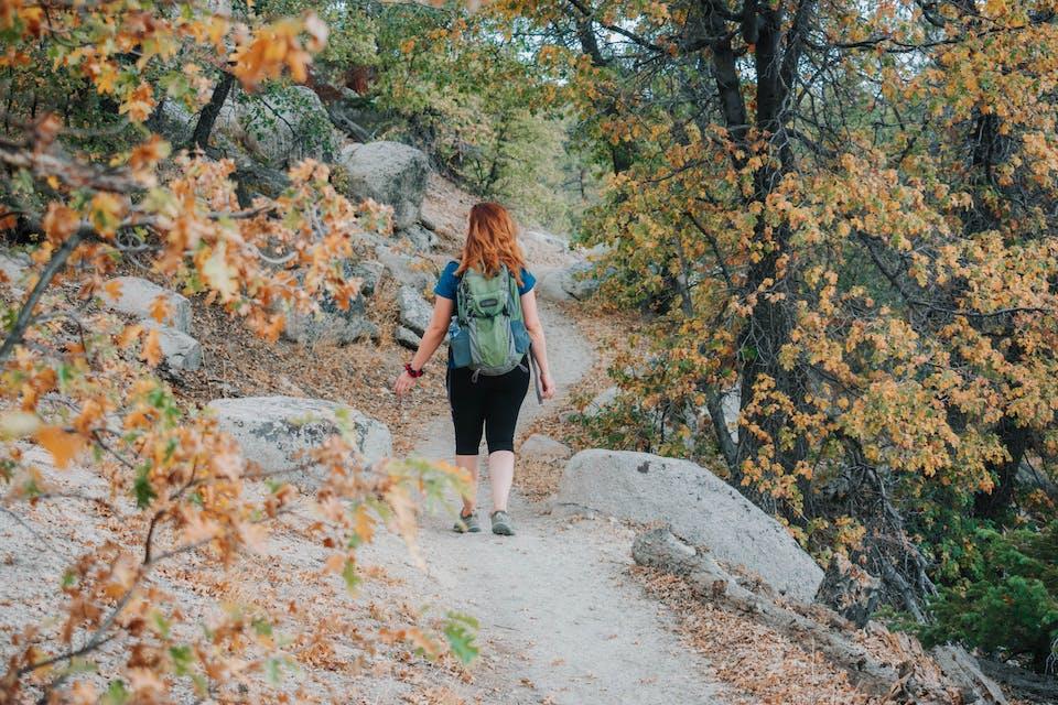 Hiker on Grays Peak Trail amid fall foliage in Big Bear Lakes