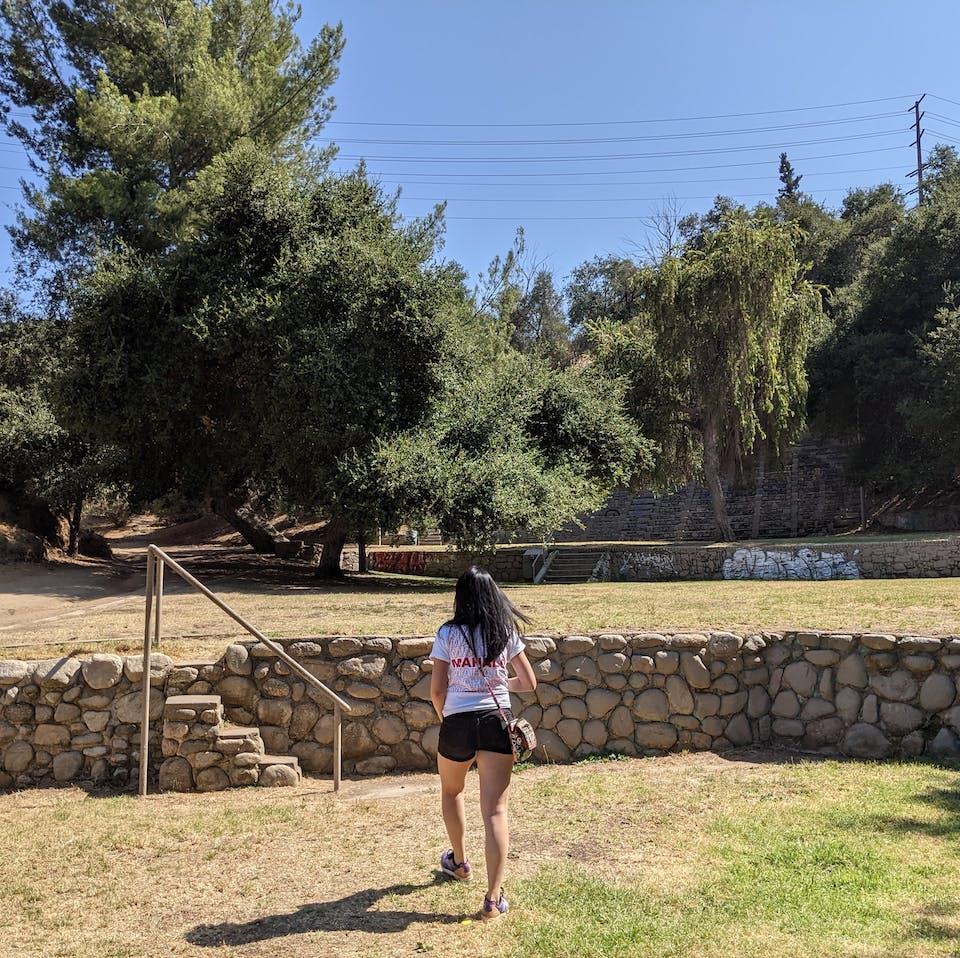 Hiker at Fiji Hill at Occidental Campus Los Angeles