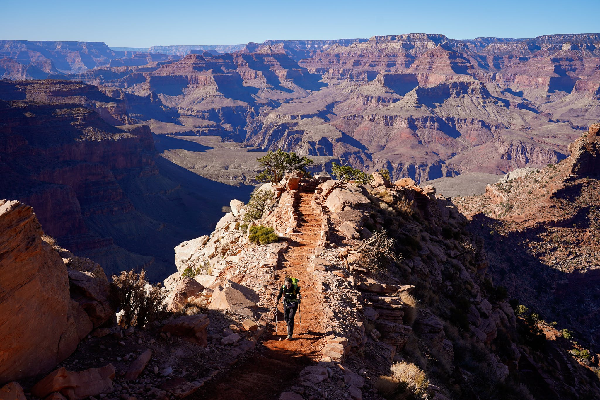 Woman hiking South Kaibab Trail in Grand Canyon