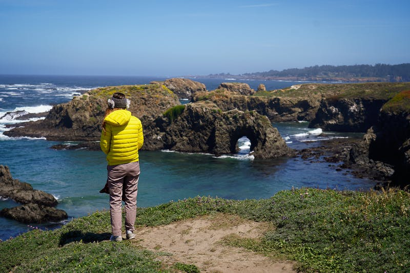woman hiking the Mendocino Headlands State Park