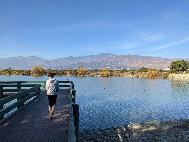 Woman on a boardwalk overlooking Santa Fe Dam in Los Angeles County