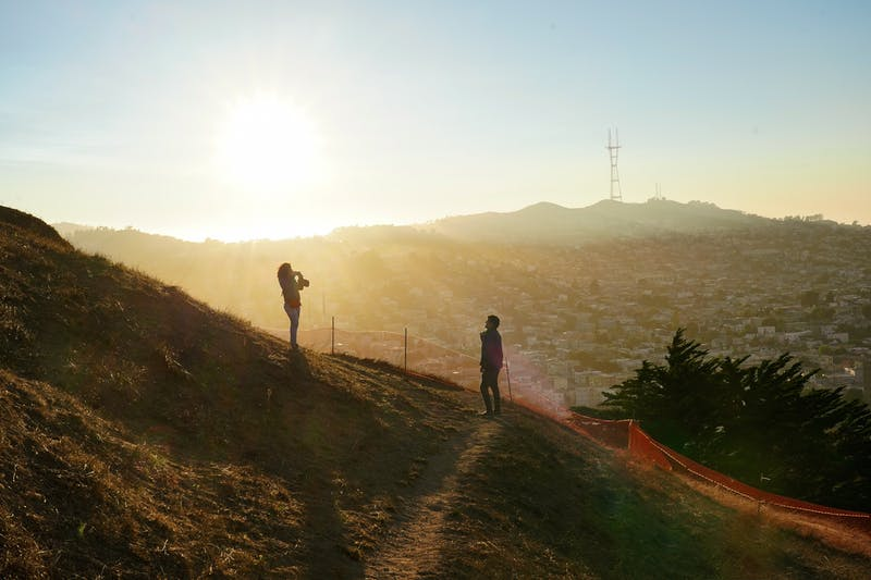 Bernal Heights Park in San Francisco at Sunset