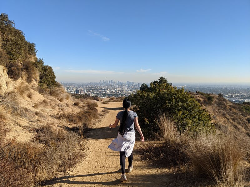 Woman hiking at Trebek Open Space in Los Angeles County