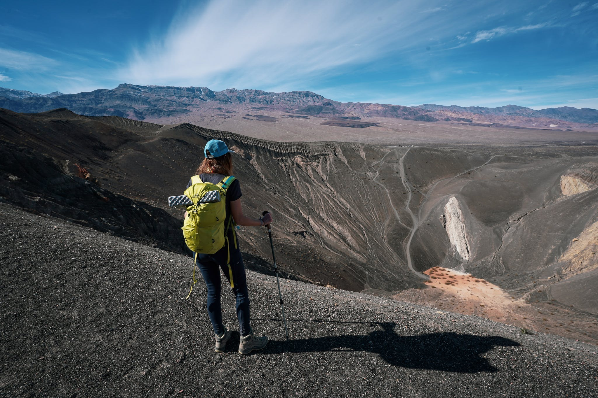 Woman hiking around Ubehebe Crater in Death Valley National Park