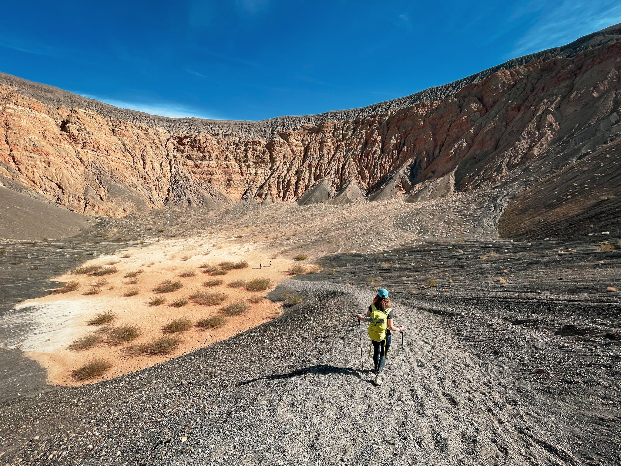 Woman at the bottom of Ubehebe Crater in Death Valley National Park