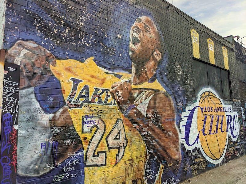 Mural in downtown LA of Kobe Bryant Celebrating