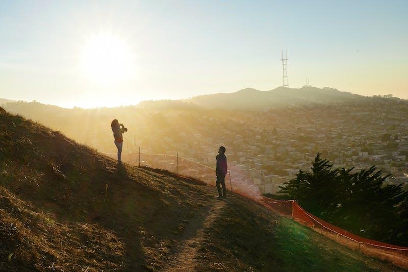 Bernal Heights Park in San Francisco sunset